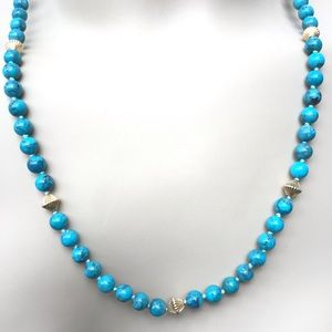 """Authentic Turquoise & Gold Necklace 21"""" NWT"""